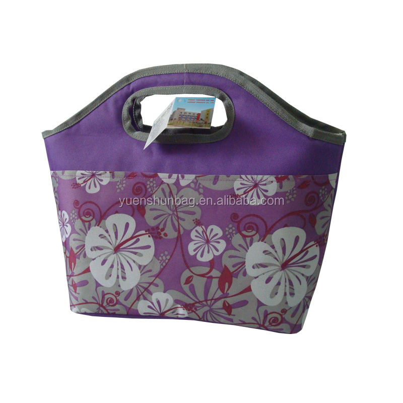 Insulated Cute lunch tote bag ,hand bag cooler bag ,front flower printing(free sample )