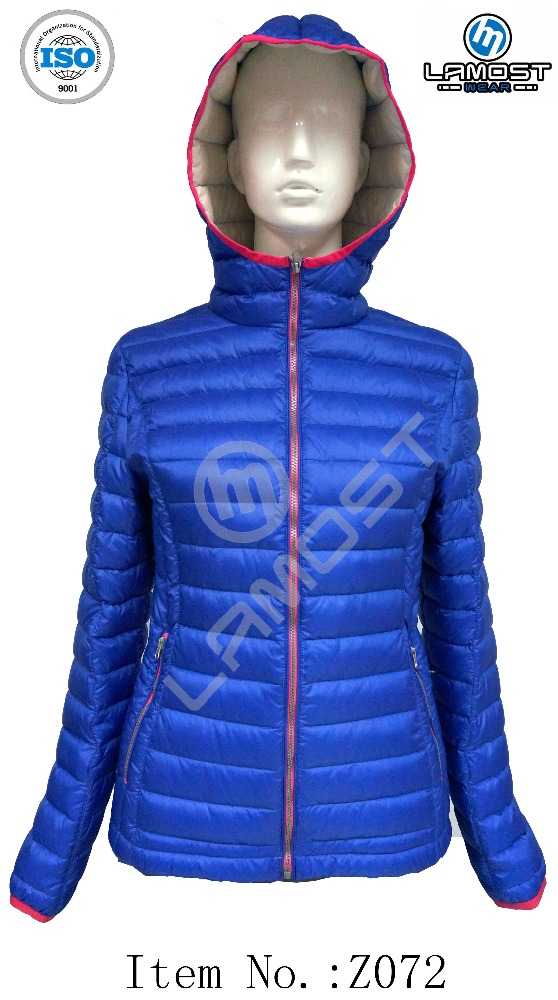 packable ultra light pure color wholesale duck down jacket for women