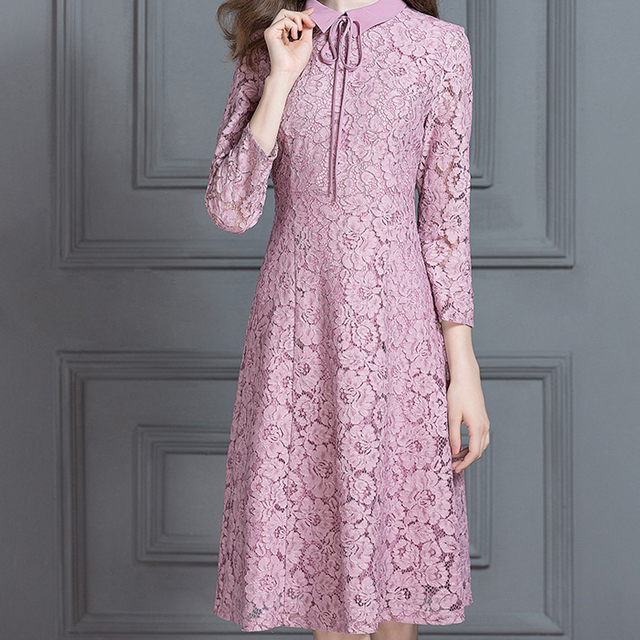 Elegant Fashion Doll Collar Pink Lace Prom Dress For Women