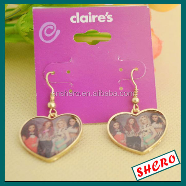 Transparent Clear Plastic PVC Earring Card with Special Art roseo color Paper