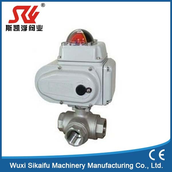 Best quality three way electric ball valve with t and l type with low price