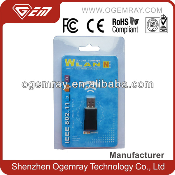 300Mbps 2T2R external wifi usb adpater with WPS