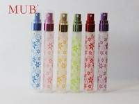 10ml frosted flower vine pattern right circular cylinder shape glass perfume spray bottle with pump and cap