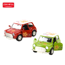 Zhorya 1:38 scale pull back metal diecast mini open door toy vintage car with lighting and music