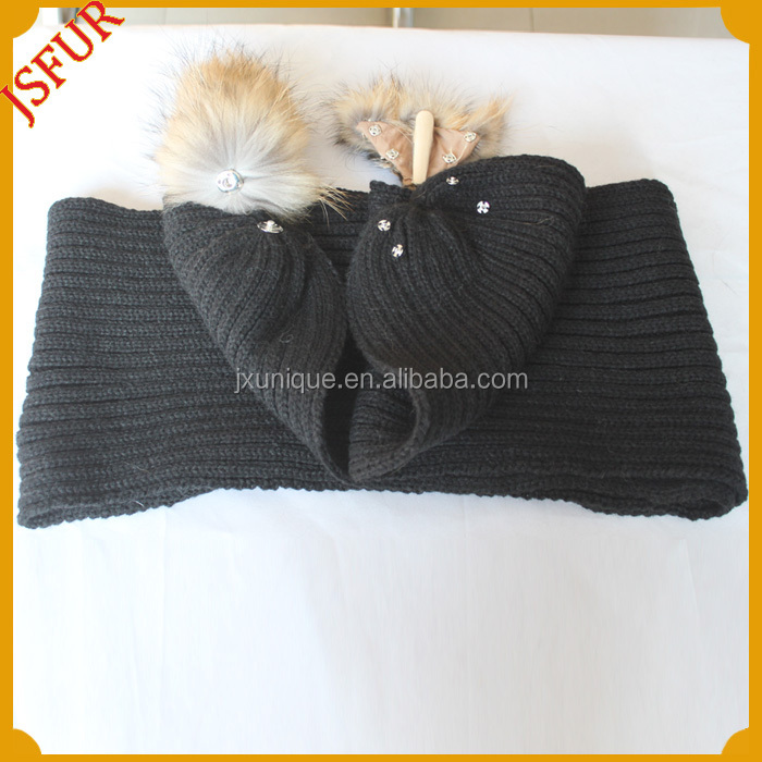 Popular style 2014 Winter real fur knitted raccon fur 100% wool scarf