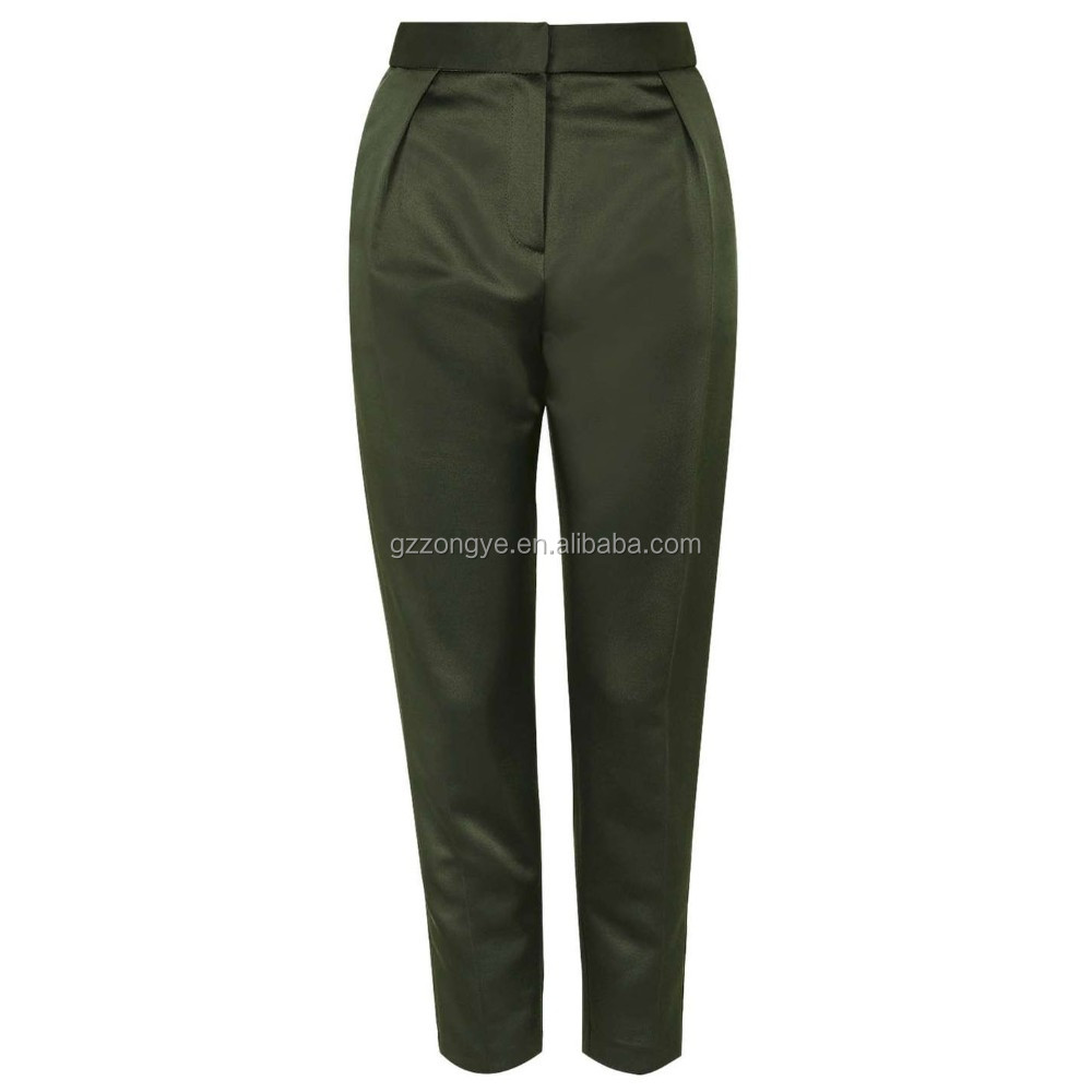 Khaki 100% Polyester Twill Peg casual jean trousers
