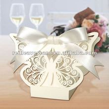 Popular butterfly design ivory wedding candy box handmade sweet favor candy boxes from direct factory