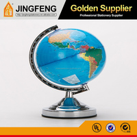 10 Inch (25cm) PVC World Globe Metal Ruler and Base Geography Globe