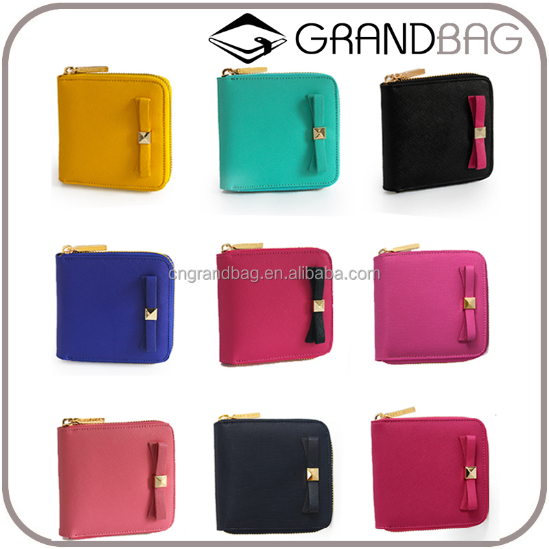 Lovely Mini Saffiano Leather Zipper Coin Purse for Lady Genuine Leather Women Card Wallet Wholesale