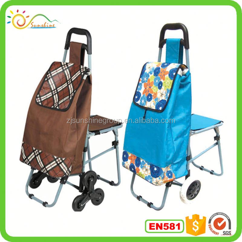 Folding shopping cart with seat lock tote bag