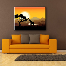 Giraffe and sunset 100 hand painted free fabric artwork painting designs