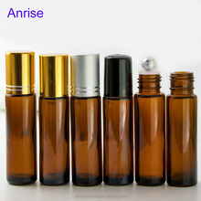 High Quality 10ml Amber Glass Essential Oil Bottle Roll On Bottle with Stainless Steel Roller Ball and Gold Silver Black Caps