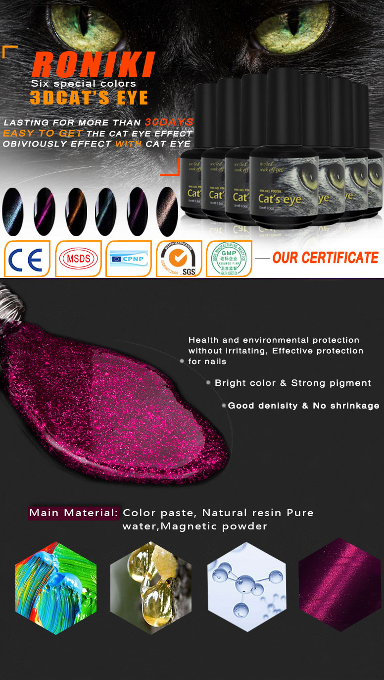 RONIKI High Quality Hotsales Product 15ml 3D Nail Art Magic Cat Eye Gel Polish