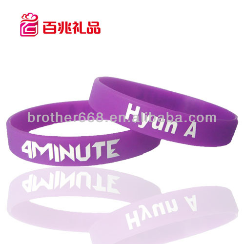 Cheapest fashion silicone bracelet wristband with print deboss engrave band