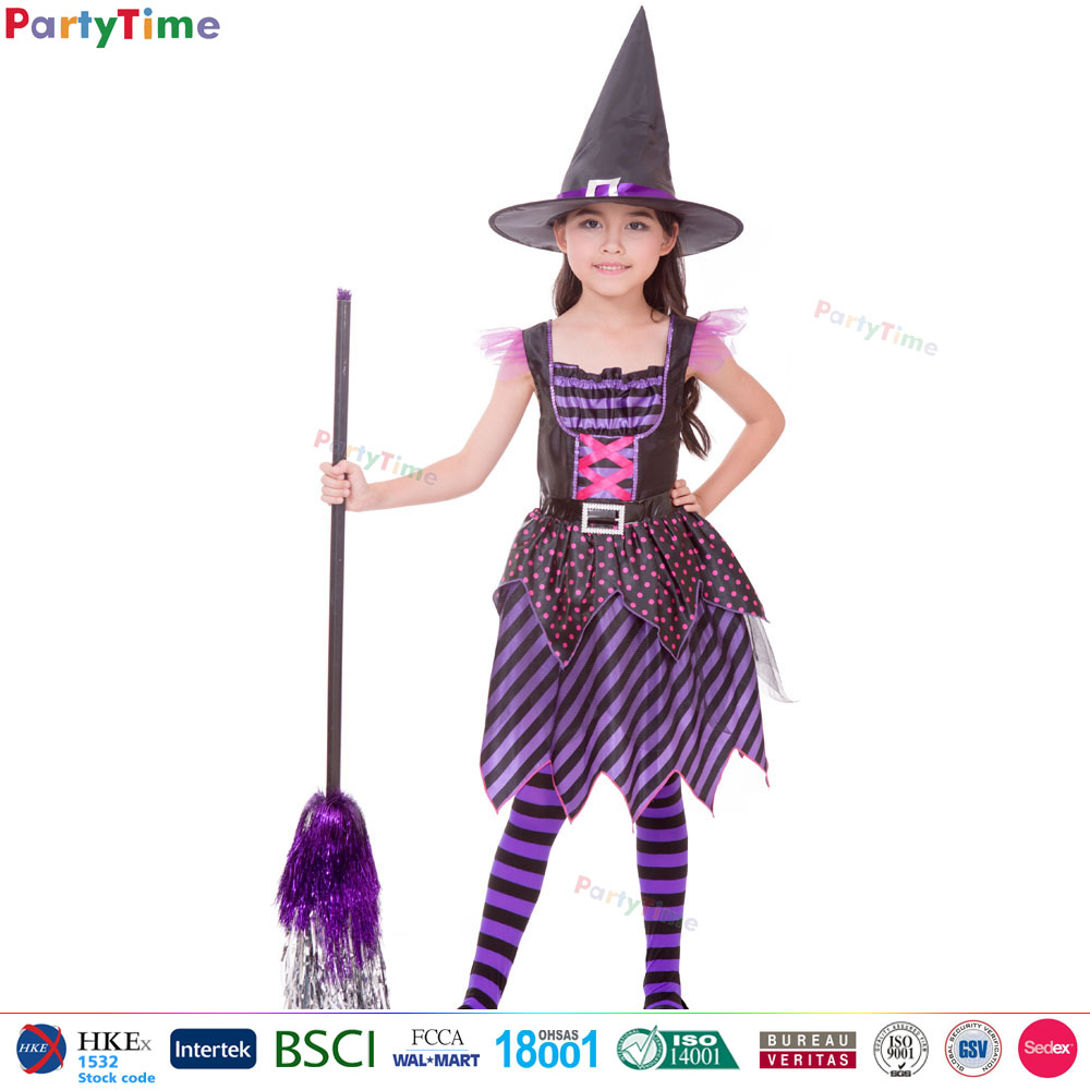 Wholesale children purple classic witch used halloween costumes sale