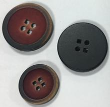 Polyester button 4 holes(2 round & 2 square holes) with imitate burn rim