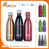 New Double wall Vacuum insulated Coke Shape 350/500/750/1000/1200/1500/1800ml stainless steel water bottle with BPA FREE Lid