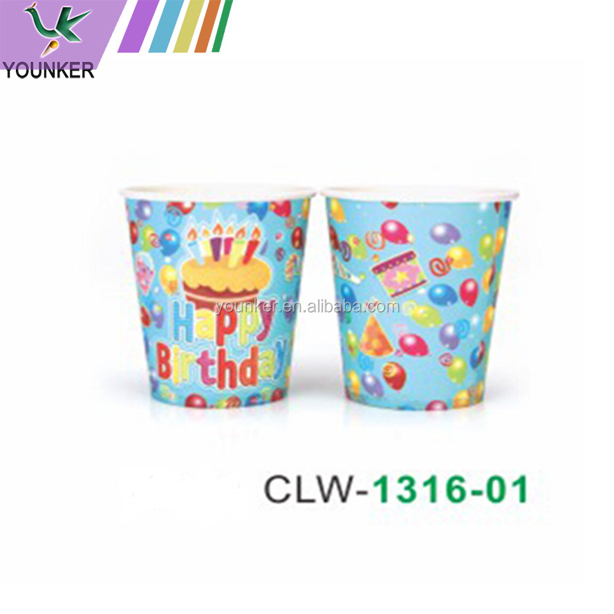 wholesale high quality food grade kids theme party disposable paper cups