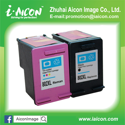 Remanu ink cartridge for hp 802 802XL (CH563ZZ/CH563Z/CH564Z)