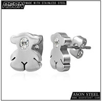novelty Item little Bear Inspired cartoon Winnie Stainless Steel Stud Earrings With Cubic Zirconia For Man And Woman