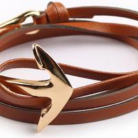 Fashion Accessories Mens Brown Leather Anchor