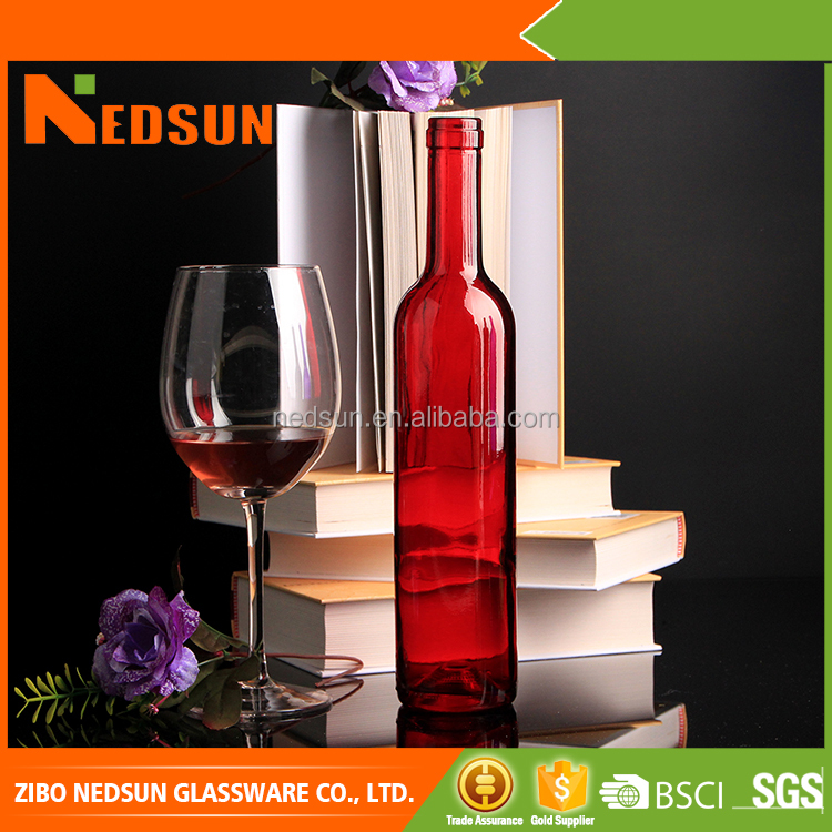 Custimized design glass red colored wine bottles