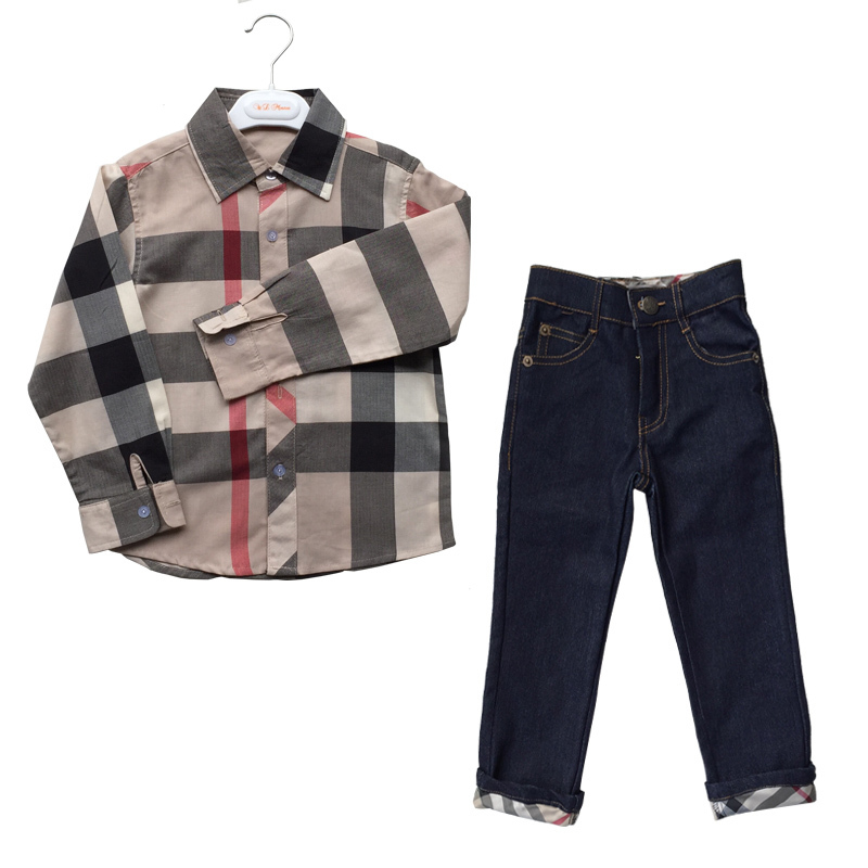 Kids Clothes 2016 Fall Children Clothing Set Long Sleeve Boys Clothes Brand Suit Plaid Baby Boy Fashion Shirt With Casual Jeans