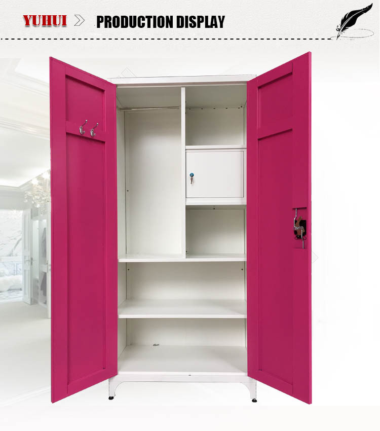 Lovely Steel Almirah Metal Wardrobe Closet With Mirror Outside And Foot