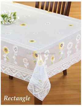polyester jacquard lace Oblong printed sunflower floral lace tablecloths