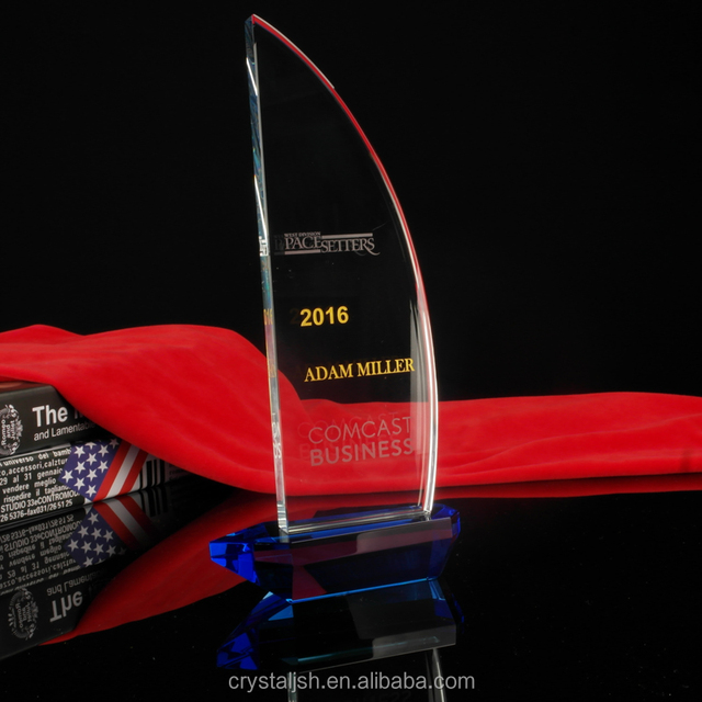 New product design crystal sailboat trophy plaques and awards