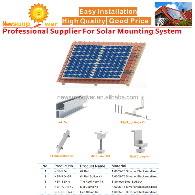 Newsunpower OEM custmized Tilel roof solar mounting support/Pitched Roof Solar Racking system/brackets/frames/racks/rac