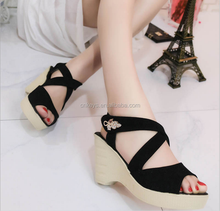 E0209A 2017 New women's sandals diamond decorative fish mouth wedge new model women sandals