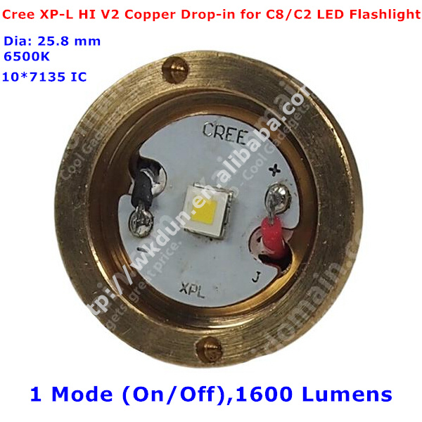 New XP-L HI V2 6500K 10*7135 IC 1 Mode (On/Off) 1600 Lumens Copper LED Module Drop-in for UltraFire C8/C2 LED Flashlight