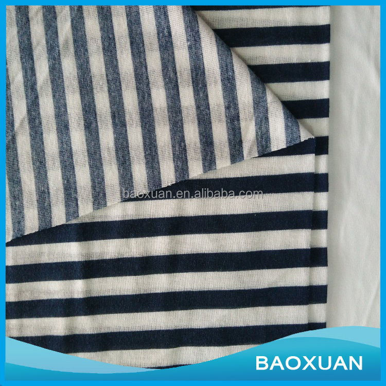 CVC cotton polyester knit stripe single jersey fabric for shirt TC single jersey fabric for dress