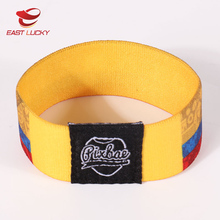Cheap textile custom embroidered soccer elastic wristband for promotion