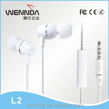 ODM/OEM metal factory flat cable metal earphone Wennda L2
