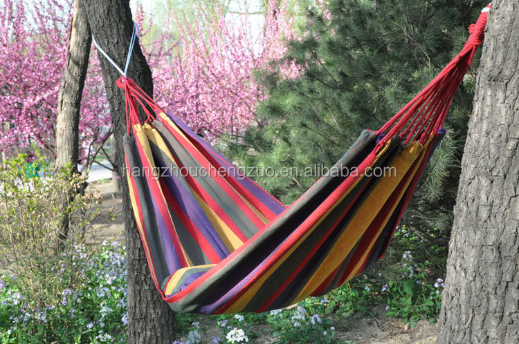 Hot Selling Double Person Colorful Parachute Canvas Fabric Travel Camping Hammock,CZD-008B Beach Hammock