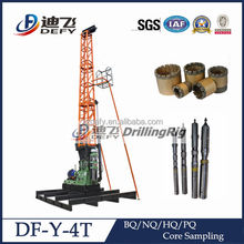 Compact structure mineral core drilling rig combined with drilling tower