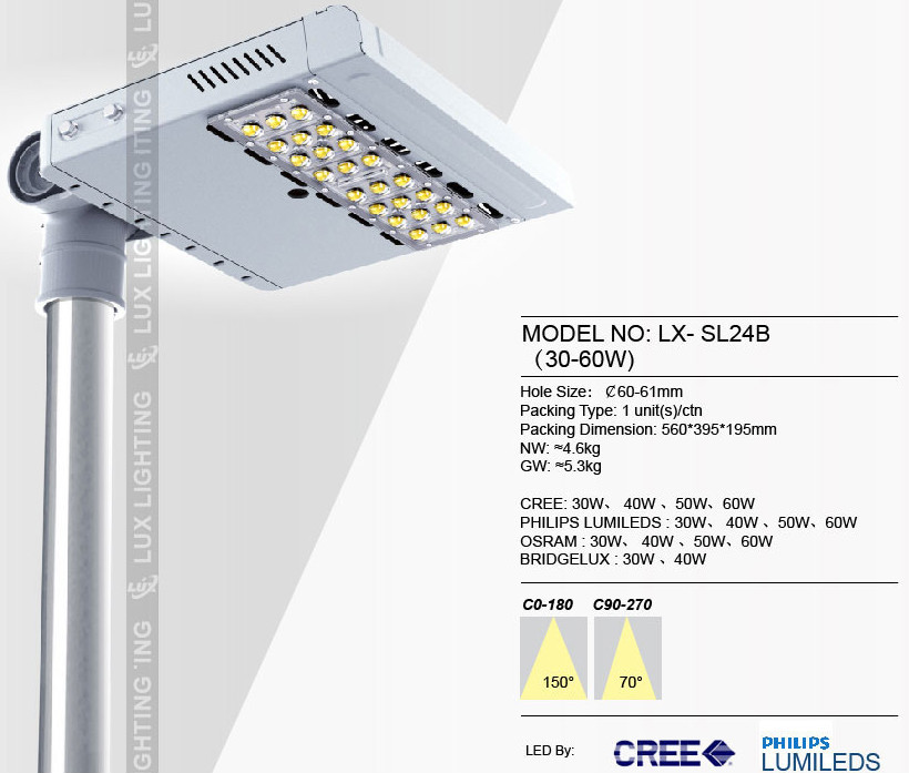 2015 best price adjustable outdoor IP66 100lm/w 40 watt led street light