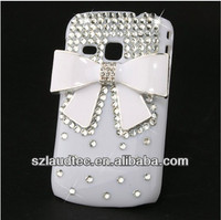 White Bow Bowknot Bling Diamond Hard Back Case For Samsung Galaxy Mini 2 S6500