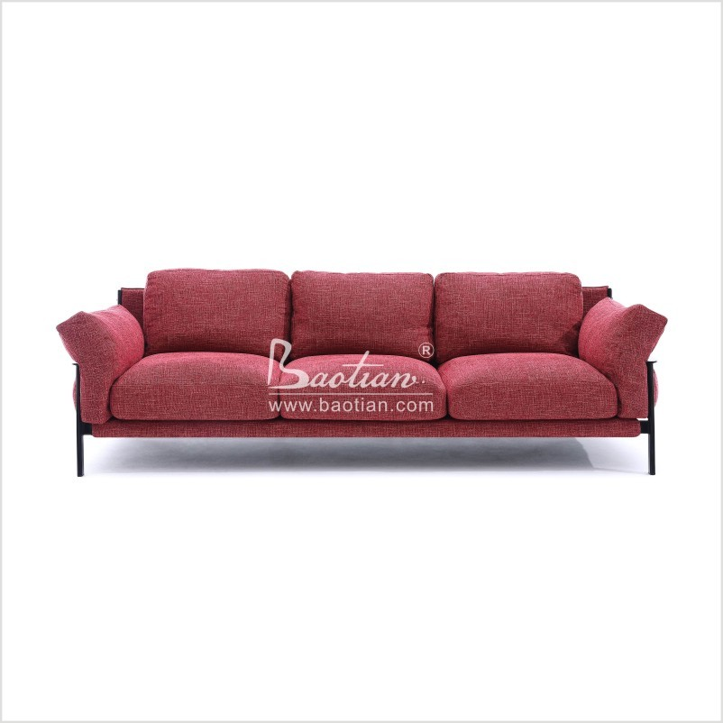 Baotian furniture 3 seater dimensions red fabric sofa