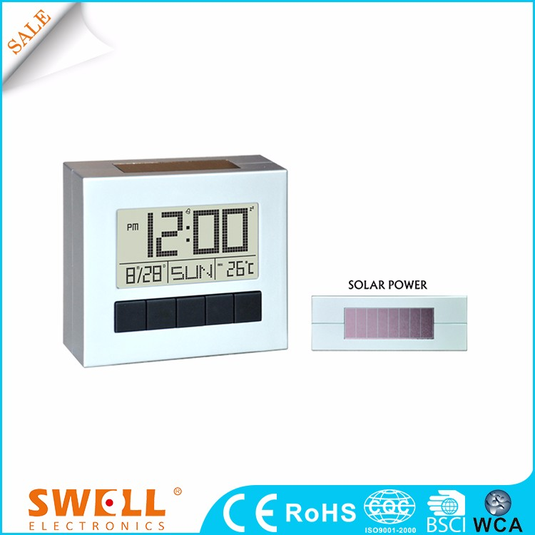 Square free flat solar power desktop digital alarm clock for desktop