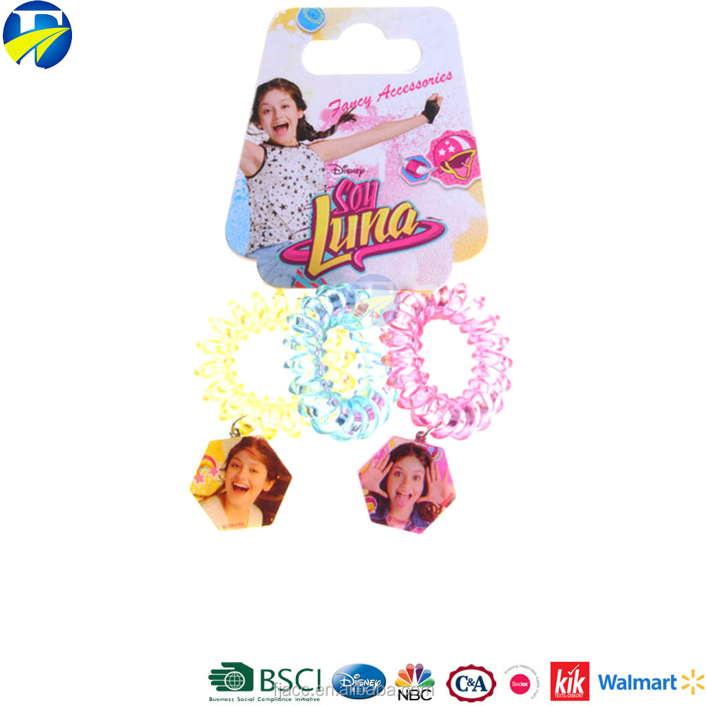 FJ Brand telephone line hair circle soy luna elastic rubber bands charm hair band for girl