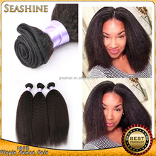Grade 6A virgin Peruvian hair weave relaxed kinky straight yaki hair extensions