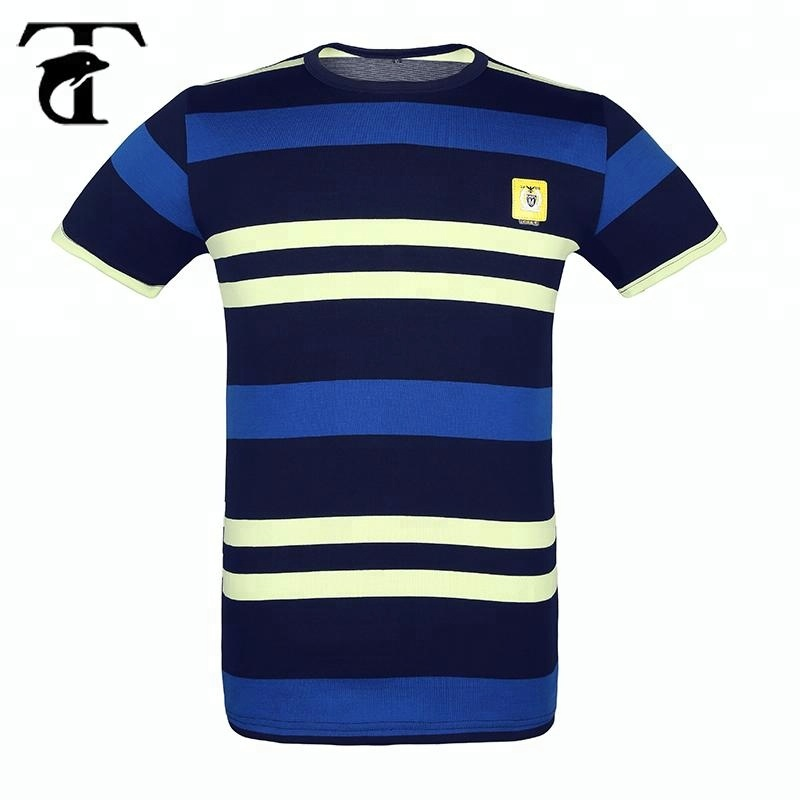 Wholesale Men's Cotton Short Sleeve Crew Neck Custom Striped <strong>T</strong> <strong>Shirt</strong>