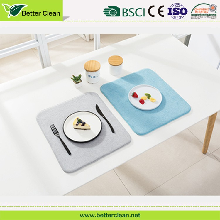 Kitchen dinner table dish plate drying microfiber water absorbent custom bamboo square drying dish mat