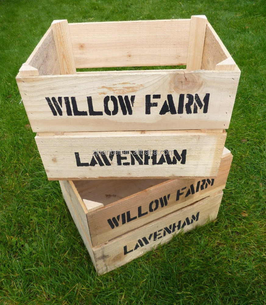 Custom Logo and Stain Color Stackable Wooden Apple Crate,Fruit Crates