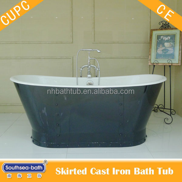french bateau cast iron tub with skirt