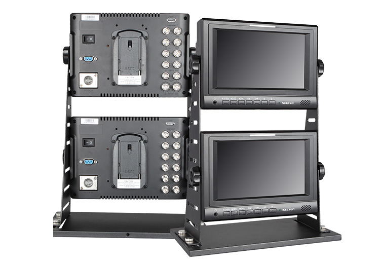 "Dual 1024*600 pixles 7"" Jib Type Broadcast monitor sdi hdmi 1080 with 3.5mm Audio output Built-in Speaker"