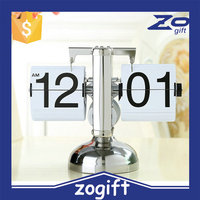 ZOGIFT Plastic Auto Flip Table Clock Day Date Calendar Clock